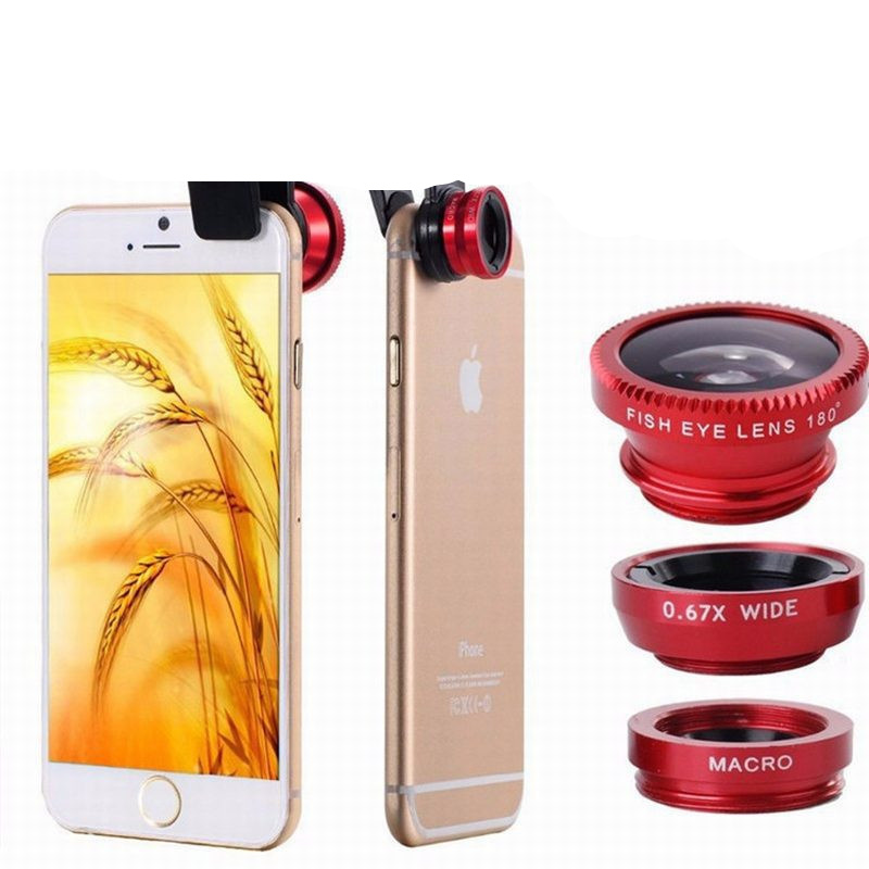 Universal 3 In 1 Clip Fisheye Lens Camera Fish Eye Wide Angle Macro Lenses for Iphone 7 6 6s 5 4s Samsung Huawei Sony Smartphone image