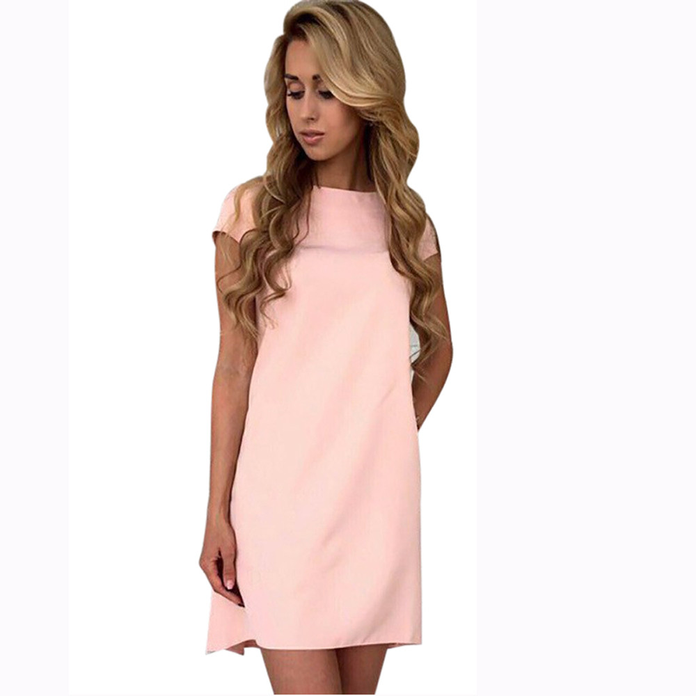 snowshine YLI Womens Short Sleeve Dress Ladies Casual Everything Party Mini Dress free shipping