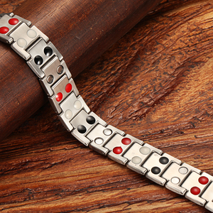 Image 4 - WelMag Mens Magnetic Bracelets Bangles Stainless Steel Gold Power Therapy Wristband Double Row Germanium Health Bracelet