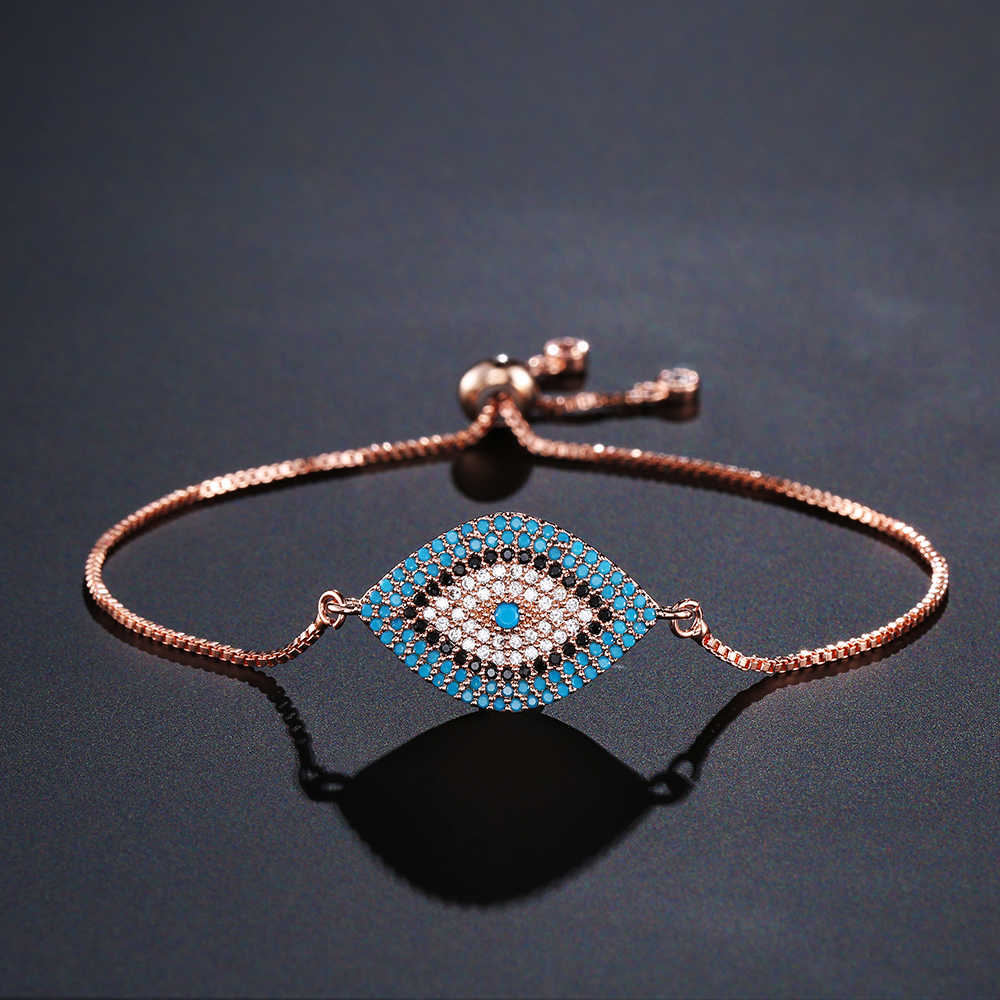 Newbuy 2019 na moda ouro turco mau olho pulseira pave cz olho azul corrente de ouro pulseira ajustável feminino festa jóias