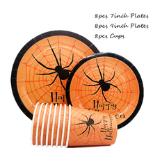 Omilut Halloween Spider Disposable Tableware Set Cartoon Plates/Cups/Napkins Decor Supplies
