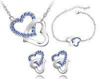 Blauw Hart Oostenrijkse Crystal Liefde Sieraden Sets Dubbele Hart Ketting Oorbellen Armbanden Set Meisjes Vrouwen Dame Kostuum Accessoires