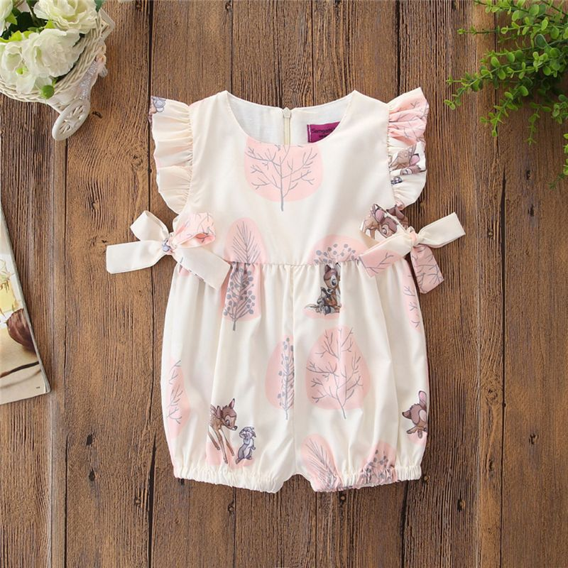 Newborn Baby Clother Sleeveless Jumpsuit Children Summer Bodysuit Cute Animal Print Bow Girls Crawling Suit Onesies in Rompers from Mother Kids