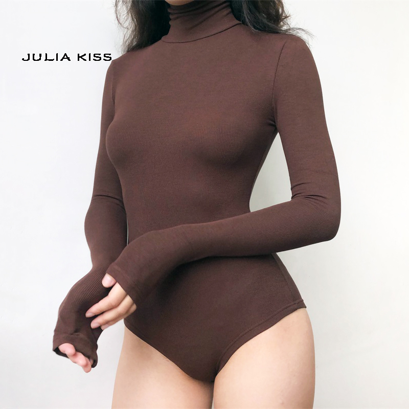 Women High Neck Rib Bodysuit With Long Sleeve
