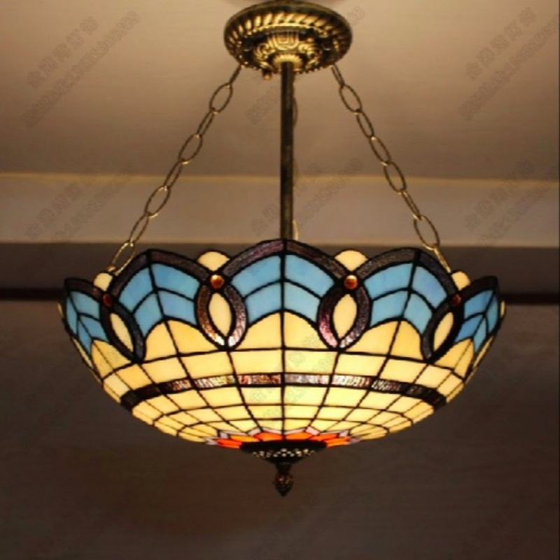 Handmade Novelty Tiffany Blue Glass Hanging Pendant Light for Dining Room Living Room Balcony Decor Lamps Dia 20/30/40/50cm 1637 tiffany glass pendant lamps fashion style 3 lights living room lamps corridor light bedroom lamp dia 56 cm h 65 cm