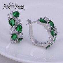 Luxury Green Blue Mona Lisa Stud Earrings For Women Vintage Bohemia CZ Cubic Zirconia Stud Earings For Girl Studs Ear AE199