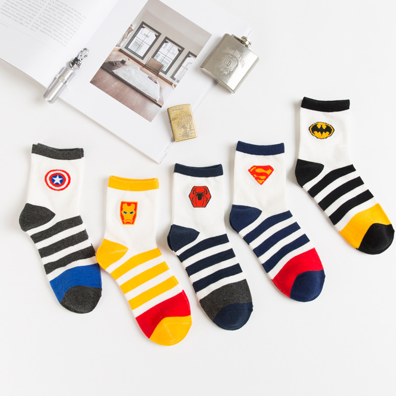 Marvel Comics New Hero Cartoon Men's Iron Stockings Captain America Mode High Temperature Sewing Pattern Men's Casual Socks