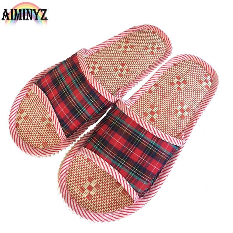 Linen Adult Slippers Gingham Women House Summer Flax Shoes Lovers Indoor Pantufas Bedroom Sandals Floor Scottish Men Cool