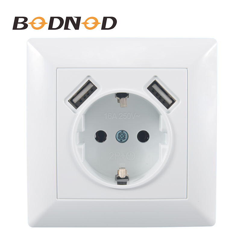 2018 New Double USB Wall Socket 5V 2A Free Shipping  European Plug Socket Power Supply Wall Mount Charger Adapter Docking VS-19