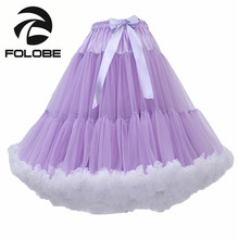 FOLOBE Light Purple Womens Knee Length 50s Soft Puffy Tutu Skirts Ballet Costume Tulle Skirts Underskirts Ball Gown Petticoat