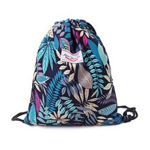 Drawstring Bag Floral Leaf Rucksacks Cinch Sack Gym Sackpack Book Bags for Hiking Yoga Gym Swimming Travel Beach