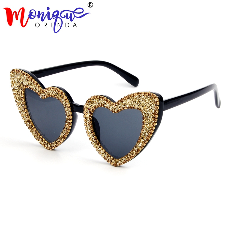 Sunglasses Heart-Shape Shades Retro Women Summer Men Luxury For Love Female Gravel Gold
