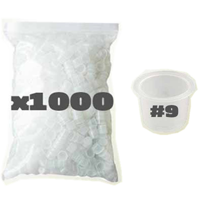 1000pcs 9mm Small Size White <font><b>Tattoo</b></font> <font><b>Ink</b></font> <font><b>Cups</b></font> <font><b>Caps</b></font> <font><b>for</b></font> Needle Tip Grip Power Supply--ICC#9-1000