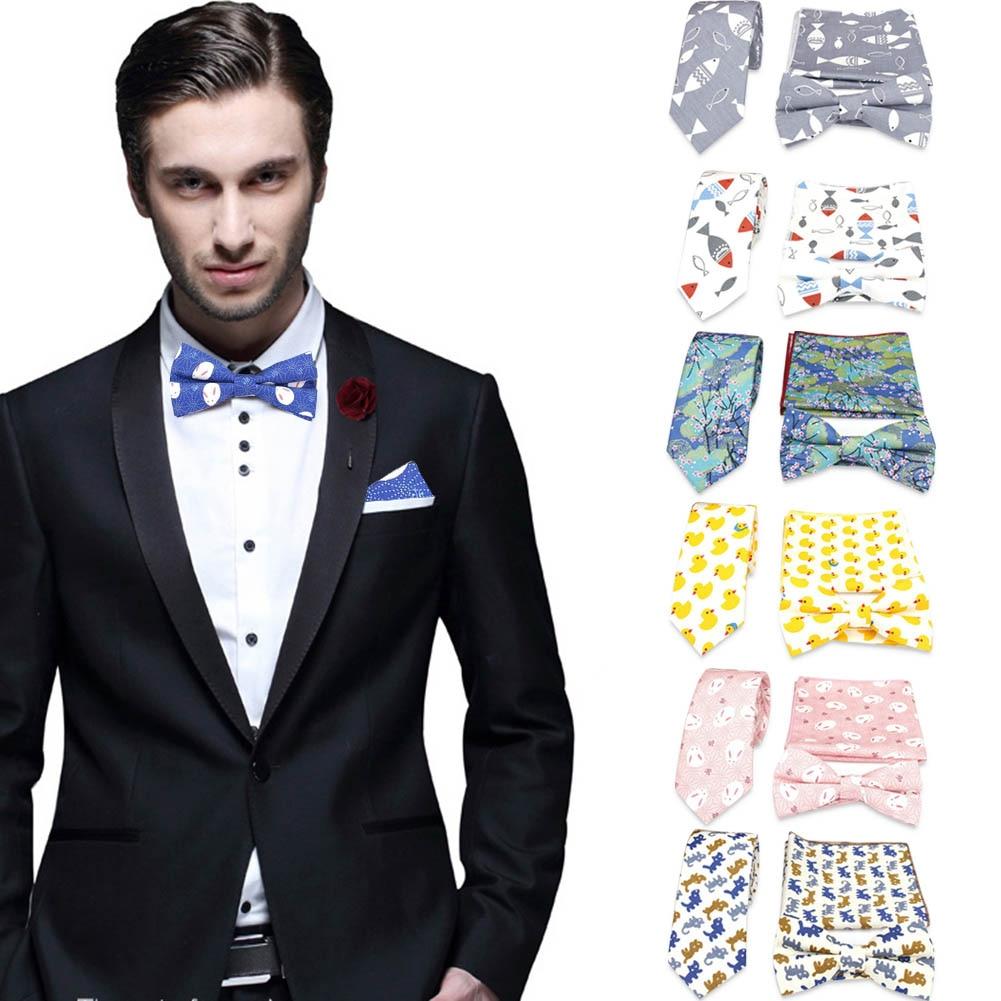 Men Bow Tie Necktie Neckwear Pocket Square Set Printing Fashion For Wedding Suit Groom FS99