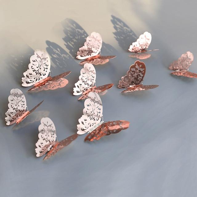 12 unids/set de oro rosa 3D hueco adhesivo para pared de mariposa para la decoración del hogar mariposas adhesivos decoración de dormitorio para la decoración de la boda del partido