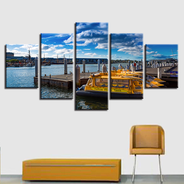 Wall Art Painting HD Printed Canvas Poster Home Decor 5 Panel Seashore  Wharf Landscape Framework Living
