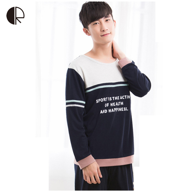 2016 New Autumn  Men's Casual Pajamas sets Fashion Long Sleeve Men Home Wear Cotton Lounge Set Sleepwear AP325