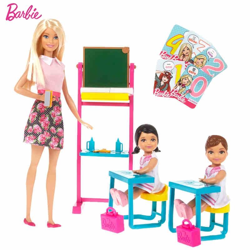 Barbie Original Brand Dreams English Teacher Job Classroom And Student For Little Girl Birthday Present Girl Toys Gift Boneca майка print bar teacher girl
