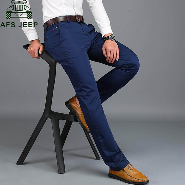 AFS JEEP Men's Casual Pants Long Trousers Spring/Summer Thin Straight Pants Male Pants Cotton Breathable Slim Fit Pant No Belt