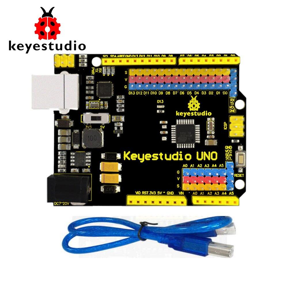 Frete Grátis! UNO Keyestudio R3 Interface Upgrated Versão Oficial Com Pin Header Para Arduino DIY