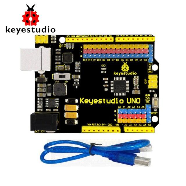 Бесплатная доставка! Keyestudio UNO R3 официальный высокого качества версия с штыревой Интерфейс для Arduino DIY