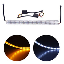 цена на Waterproof Car Flexible White Yellow Switchback LED Daytime Running Run Fire light Sequential Strip DRL Flow Turn Signal Lights