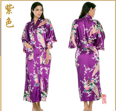 Image 2 - RB015 Satin Robes for Brides Wedding Robe Sleepwear Silk Pijama Casual Bathrobe Animal Rayon Long Nightgown Women Kimono XXXL-in Robes from Underwear & Sleepwears on AliExpress