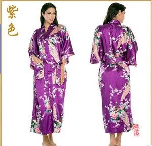 Image 2 - Robes de casamento de cetim rb015, camisola feminina kimono longa de raiom