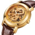 BOS Men's 'Dragon Collection' Luxury Carved Gold Dial Automatic Mechanical Bracelet Waterproof Wrist Watch Brown Leather Band