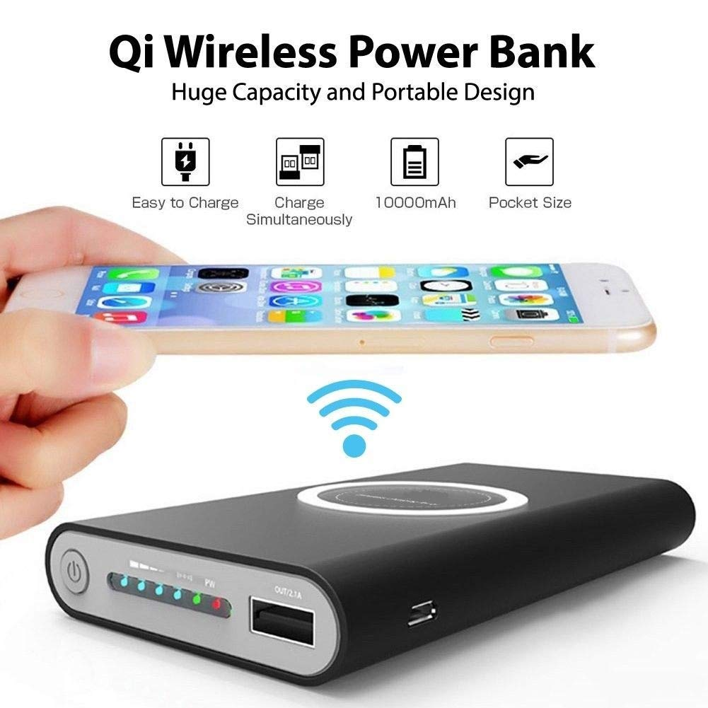 A.S 10000mAh Wireless Power Bank For iPhone XS Max XR X Samsung S9 S8 Powerbank 10000 mAh Qi Wireless Charger Charging Powerbank usb battery bank charger