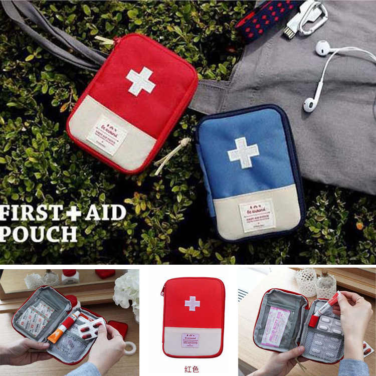Red Blue Portable Outdoor Travel First Aid kit Medicine bag Home Small Storage Bag Medical box Emergency Survival Pill Case S/L