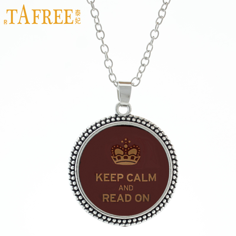 TAFREE I Love Reading Necklace Keep Calm and Read On glass dome men women Retro pendant Book Vintage noble jewelry D15