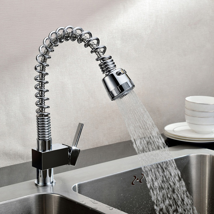 Kitchen Faucets Pull Out And Down Faucet Chrome Deck Mounted Swivel Spout Sink Vessel Taps Spray