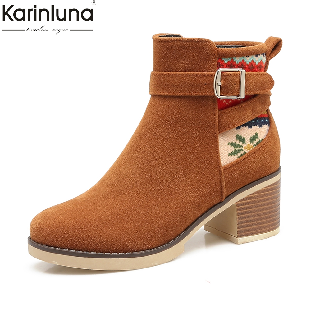 все цены на Karinluna Brand new Plus Size 34-43 Hot Sale women western Boots Woman Shoes Square Heels Black Gary Ankle Boots Shoes Woman