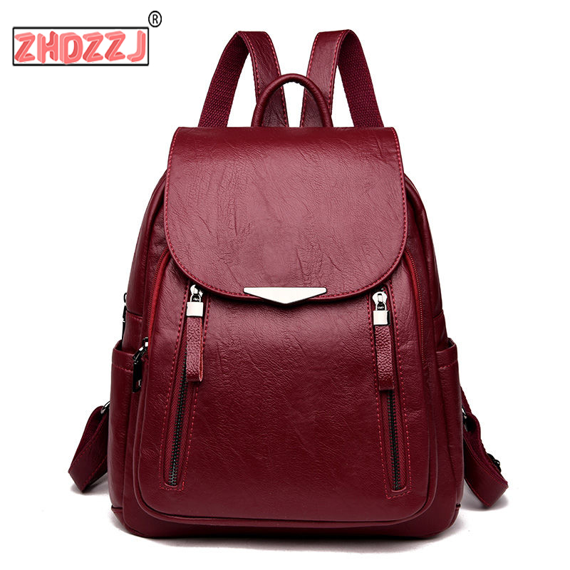 Casual Backpack Female Brand Leather Women's backpack Large Capacity School Bag for Girls Double Zipper Leisure Shoulder Bags