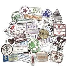 60 шт. креативные стикеры в стиле почтовых маркеров популярного города, Парижа, Нью Йорка, Лондона, Рима для багажа, чемодана, автомобильные наклейки F4