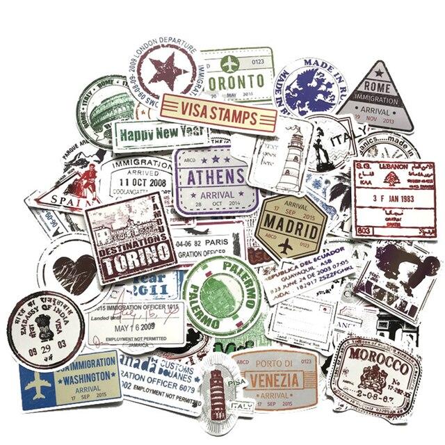 60pcs Creativo Timbro Postale Timbro Adesivi in Stile del Popolare della Città di Parigi New York Londra Roma Per I Bagagli Valigia Auto Della Decalcomania f4