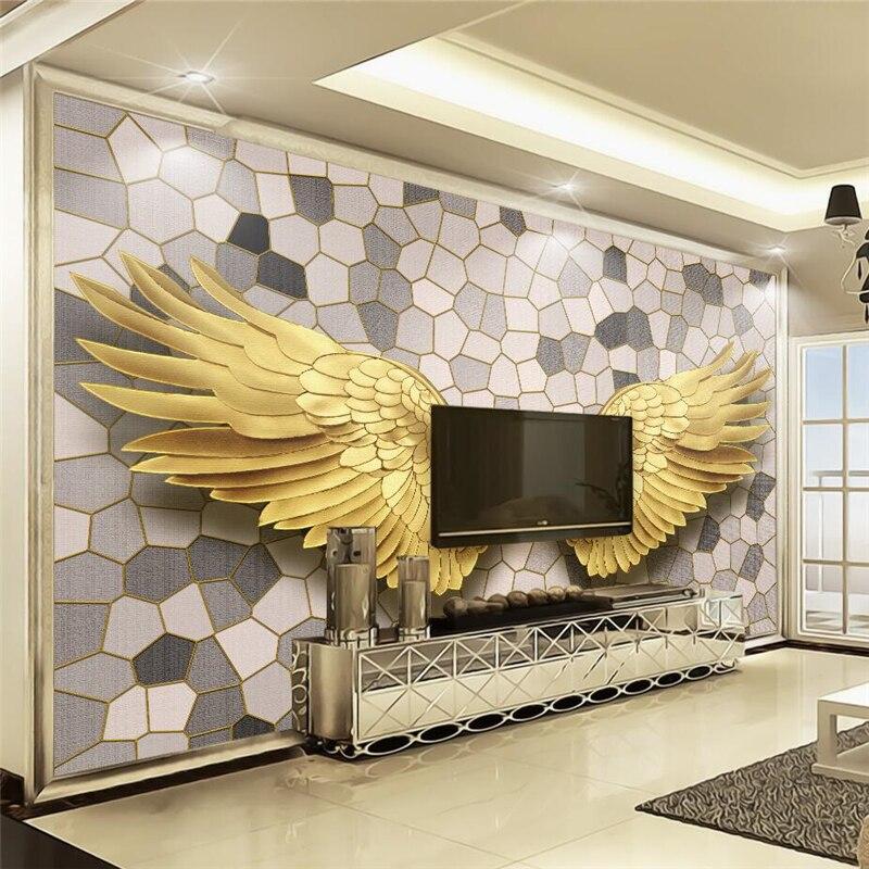 Beibehang quarto papel de parede personalizado escandinavo moderno ouro anjo asas mosaico pedra padrão tv behang