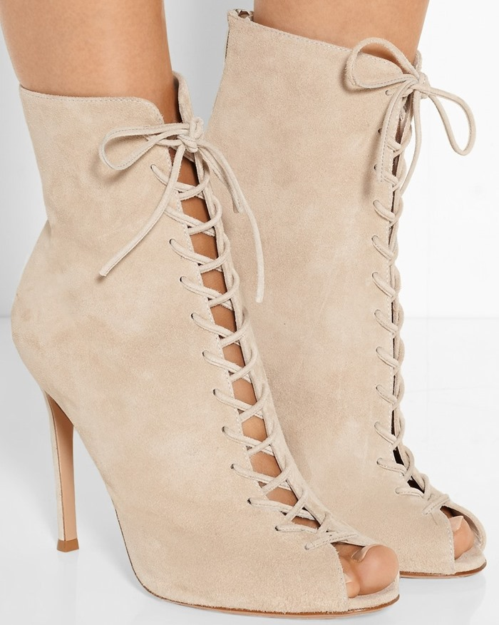 women elegant beige suede tie up open toe short booties stiletto heel dress pumps cut-outs ankle boots for summer