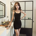 2016 Sexy Women Sleeveless Backless Spaghetti Strap Tight Bodycon Bag Hip Bottoming Dress