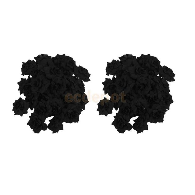 50 pieces artificial silk black rose flower heads simulation plastic 50 pieces artificial silk black rose flower heads simulation plastic flower home party decor mightylinksfo