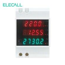 ELECALL D52-2047 DIN Rail Digital Multifunction Power Meter AC80-300V Voltmeter AC 0-100A Ammeter Energy Meter