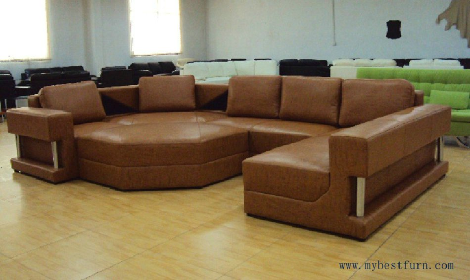 US $2599.0 |Free Shipping Large U Shaped Real leather Sofa, Large house  furniture, luxury sofa set, include coffee table S8578-in Living Room Sofas  ...