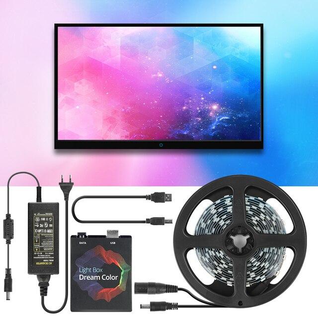 حلم تلفزيون ملون الخلفية شريط ليد مزود بيو إس بي RGB 5050 WS2812B LED أضواء 5V ل HDTV PC شاشة خلفية التحيز الإضاءة 1M 2M 3M 4M 5M