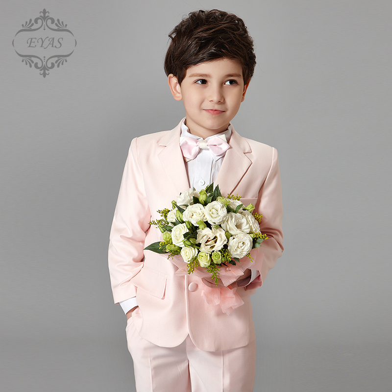 2017 Eyas Spring Summer Autumn boy clothes ring bearer tuxedo no tail pink formal suit set with bowtie A6132 2017 eyas kids clothes child clothing set long sleeve suit set white ring bearer formal 4pc with shirt bowtie a5103