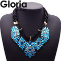 2015 fashion brand blue crystal rope chain pendant & necklace statement luxury charm necklace 8993