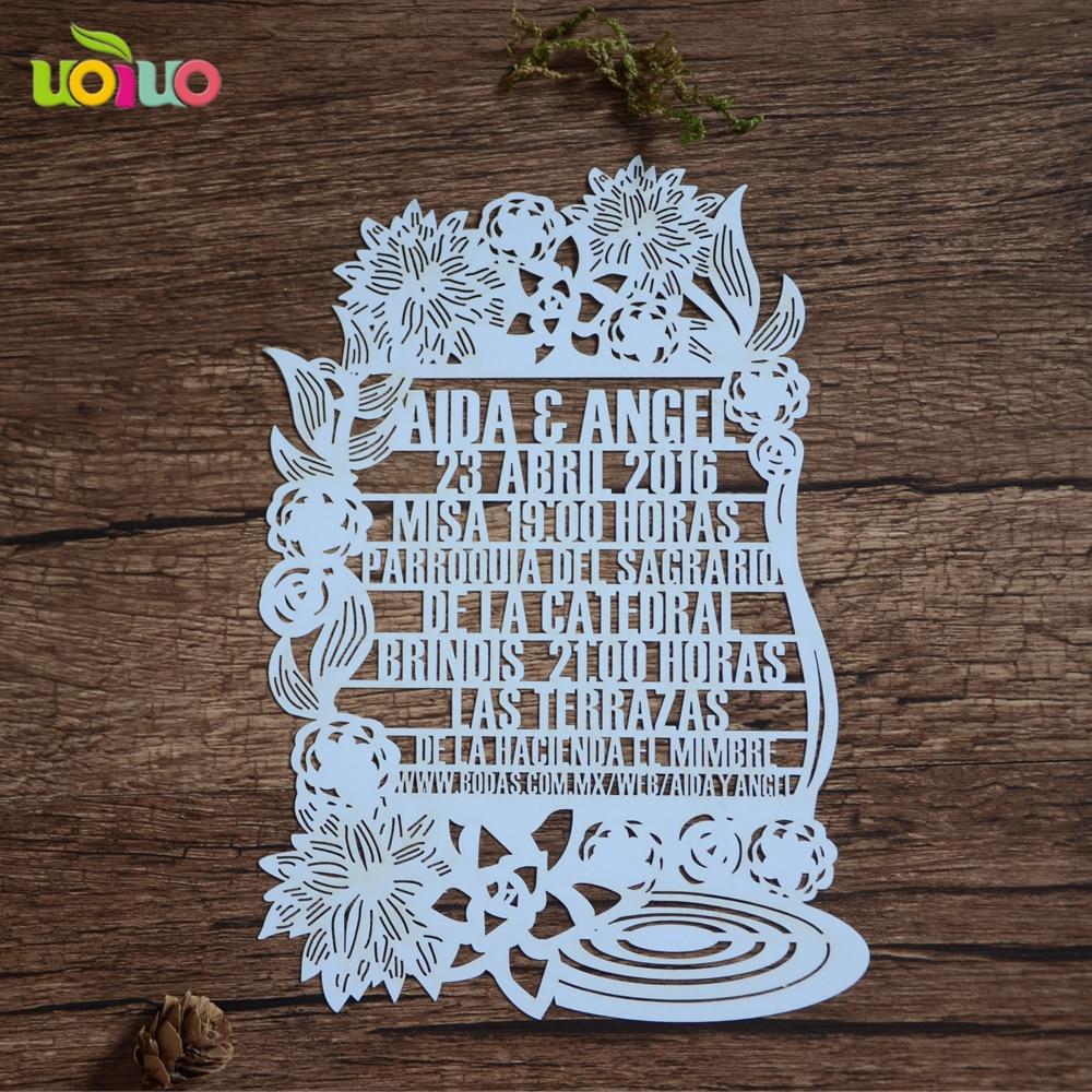 Us 49 0 Elegant Customize Laser Cut White Lace Wedding Invitation Cards And Baby Naming Birthday Invitation Cards In Cards Invitations From Home