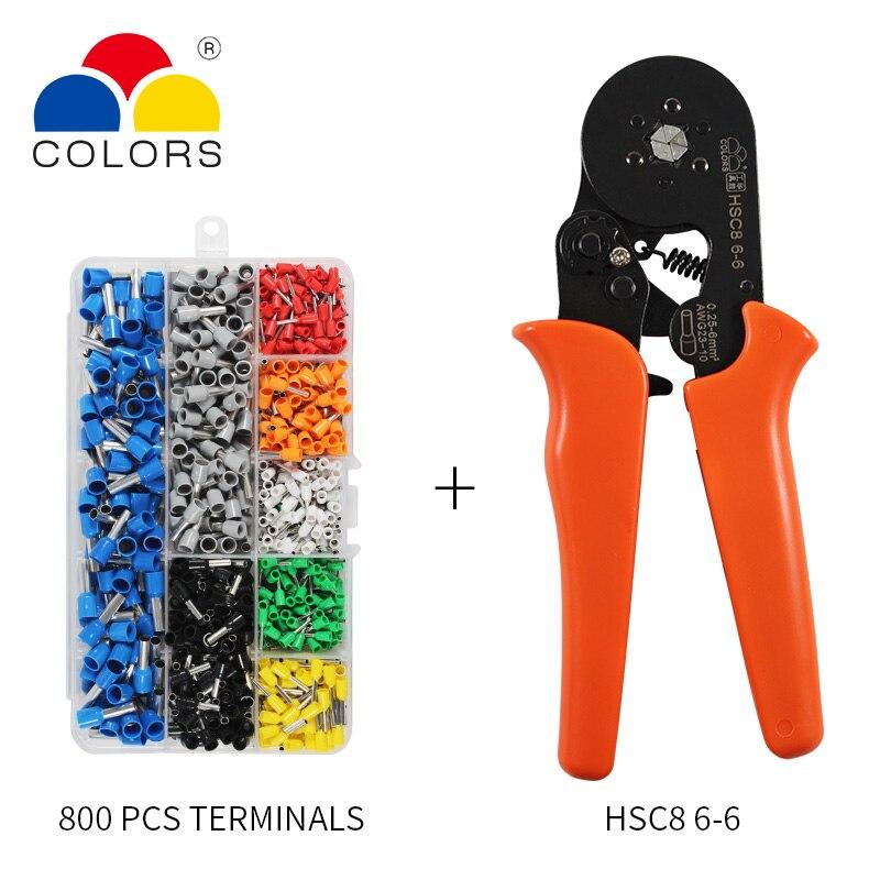 כלים יד כלים עצמי מתכוונן Crimping Plier + Crimping מסוף מגדיר מסופי Tube בכבלי חוט AWG23-10 Crimping פלייר יד Multi (4)