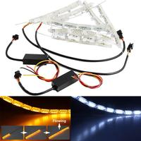 2017 Car Styling Auto 2Pcs Car Headlight DRL Flashes Flowing Amber Shift Signal Lights June30