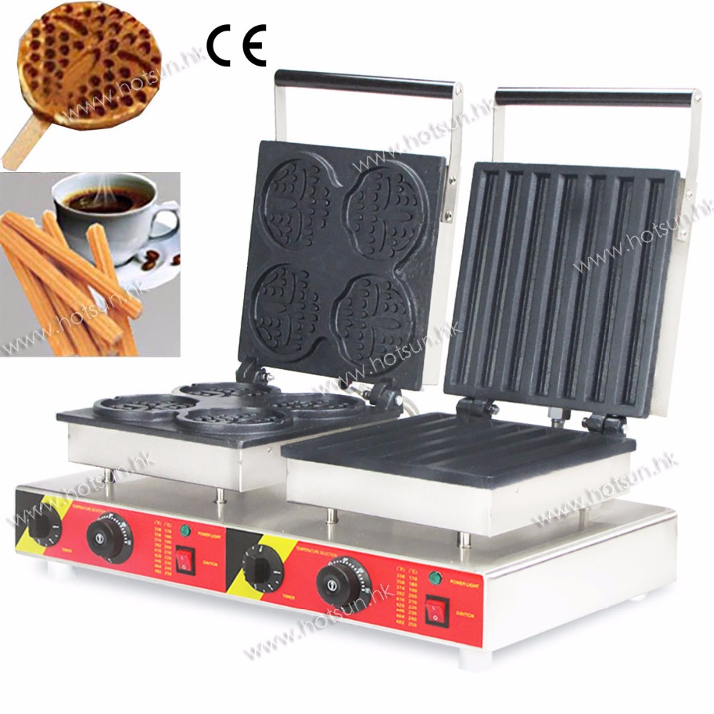 Free Shipping Doulbe-Head 110V 220V  Electric Churros Lolly Waffle Maker Machine Baker